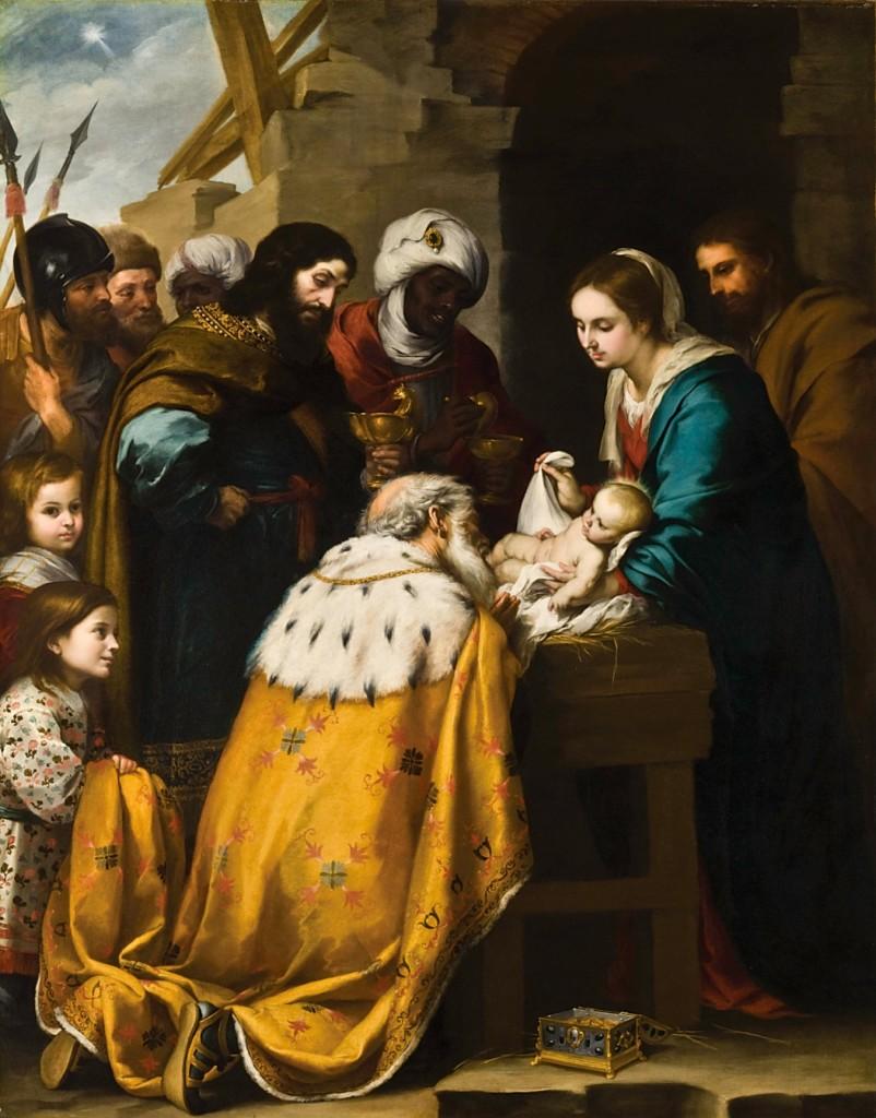 Obraz Pokłon trzech króli, Bartolomé_Esteban_Murillo, malarstwo barokowe