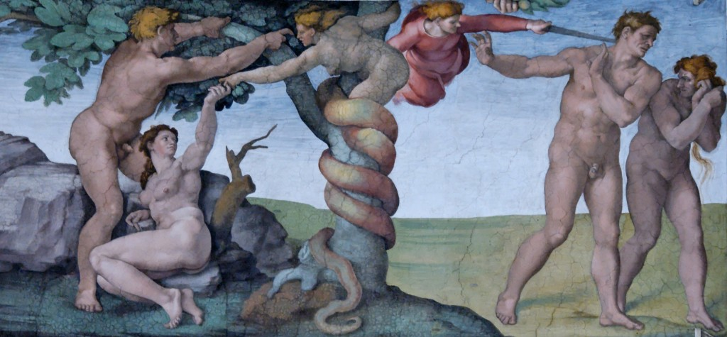 """Fresk Michała Anioła """"Grzech pierworodny i wygnanie z Raju"""""""
