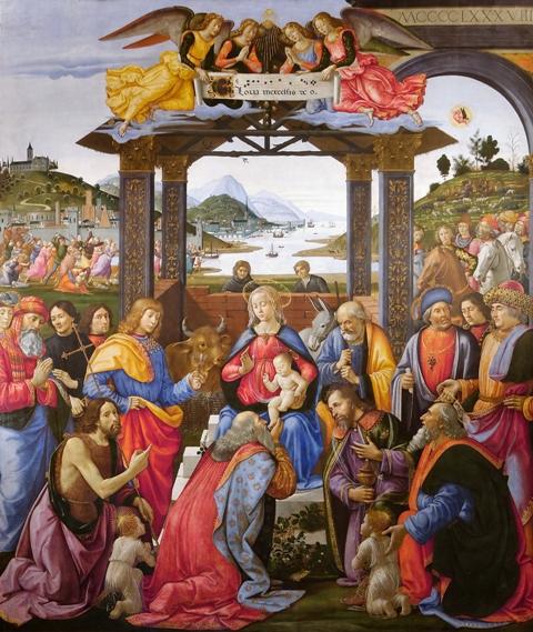 Pokłon trzech króli Domenico Ghirlandaio, 1485-1488, tempera na desce, 285 x 243 cm. Galeria malarstwa europejskiego fineARTexpress