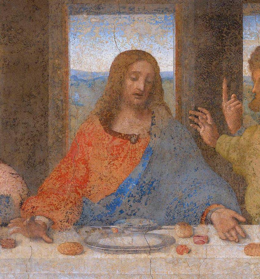 Diabeł na fresku Ostatnia Wieczerza Leonardo_da_Vinci_apostołowie