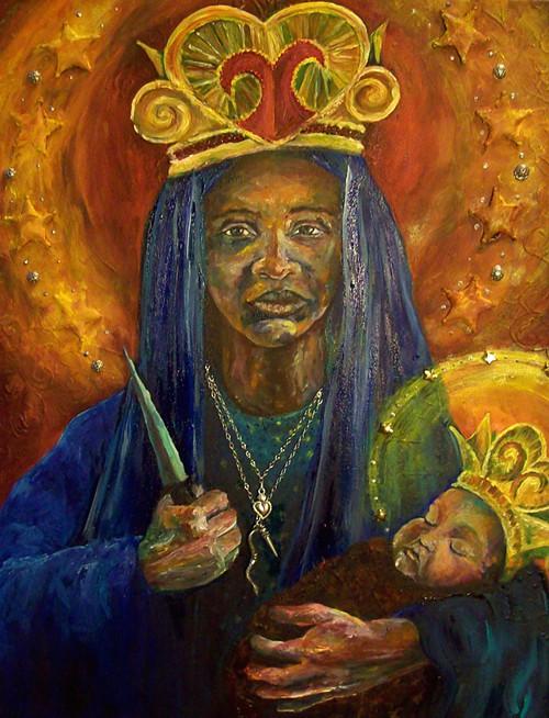Matka Boska Częstochowska Erzulie Dantor Czarna Madonna obraz olejny kopia i reprodukcja na płótnie
