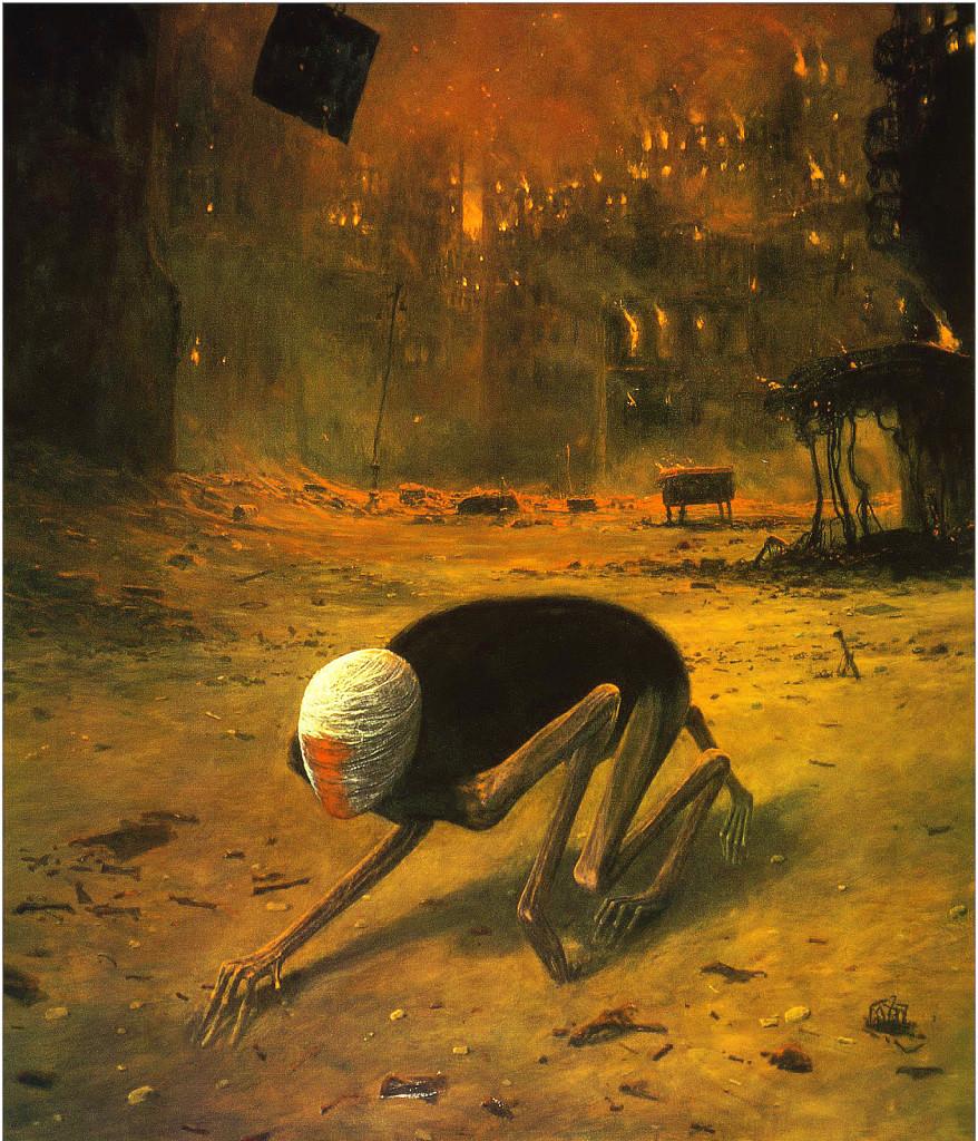 """Oryginał obrazu Beksińskiego """"Pełzająca śmierć"""" - galeria kopii i reprodukcji Beksińskiego"""