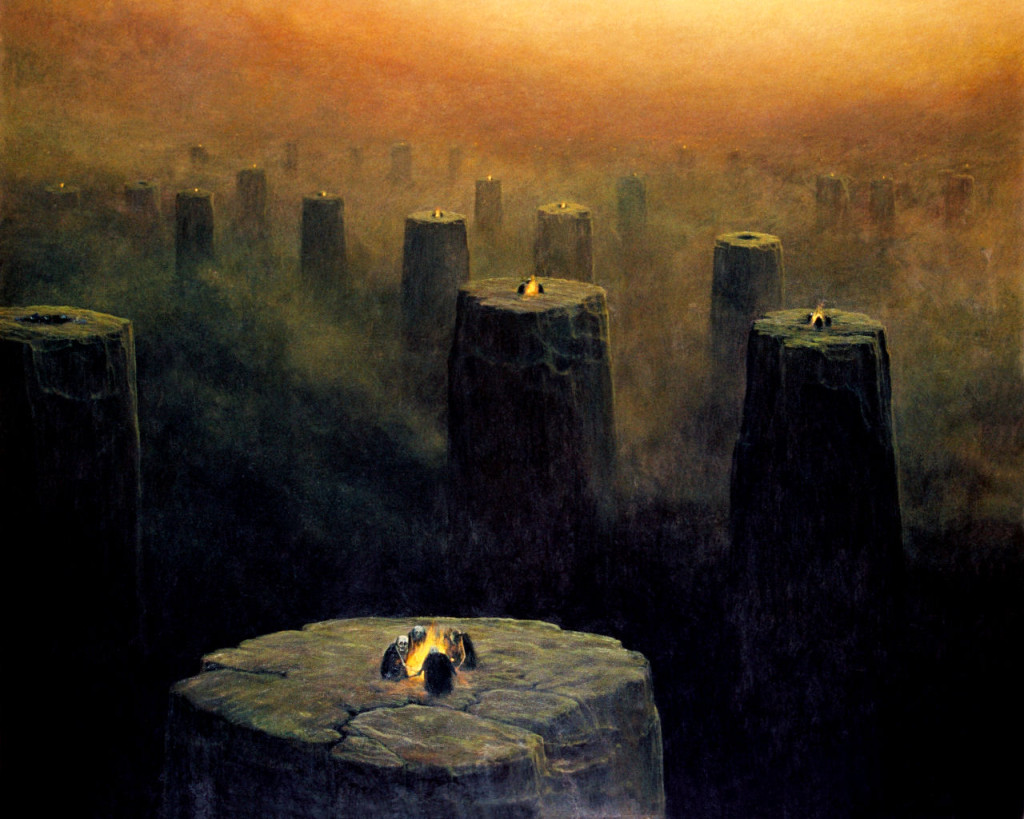 """Tytuły obrazów Zdzisława Beksińskiego, obraz pod tytułem """"Ogniska na kominach"""""""