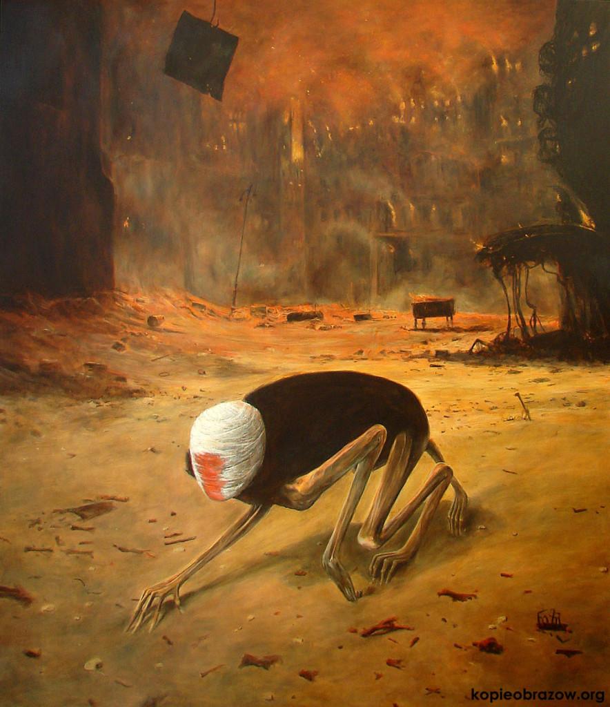 """Kopia obrazu Beksińskiego """"Pełzająca śmierć"""" - galeria kopii i reprodukcji Beksińskiego"""