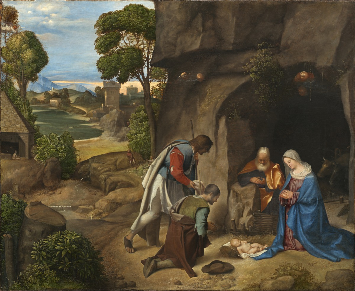 Obraz pokłon pasterzy Giorgione, reprodukcja na płótnie