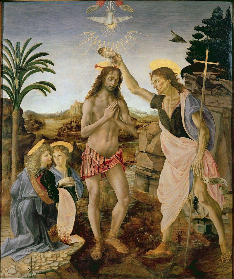 "Obraz ""Chrzest Chrystusa"" Verrocchio"