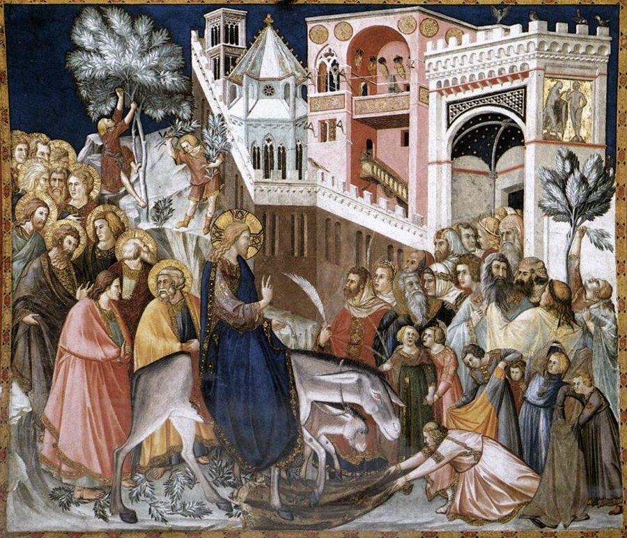 """Na fresku """"Wjazd Chrystusa do Jerozolimy"""" Pietro Lorenzetti przedstawia ten temat malarski w sposób symboliczny"""