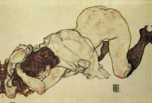 Egon Schiele, Dziewczyna na kolanach, 1917