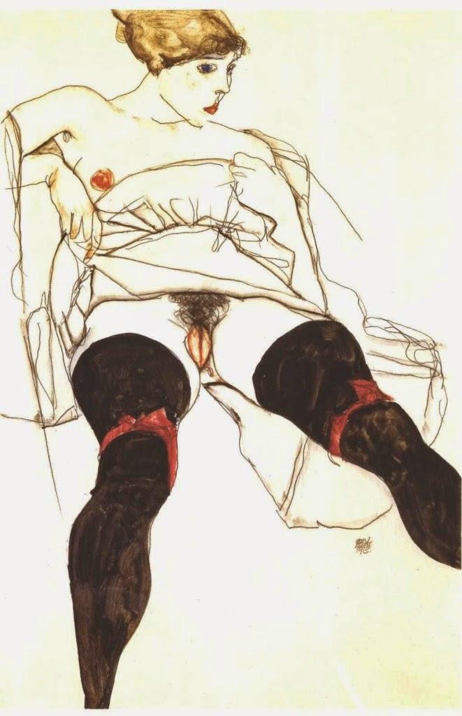 Egon Schiele, Kobieta w czarnych pończochach, 1913