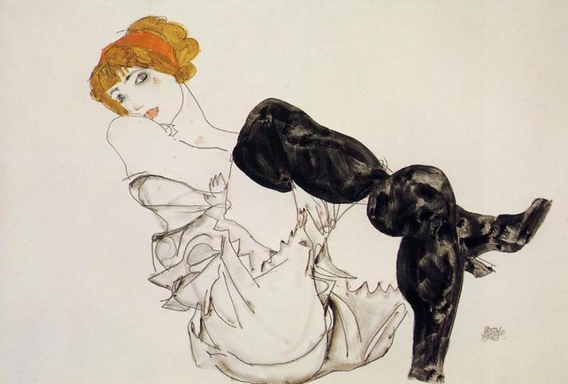 Egon Schiele, Kobieta w czarnych pończochach (Valerie Neuzil), 1913