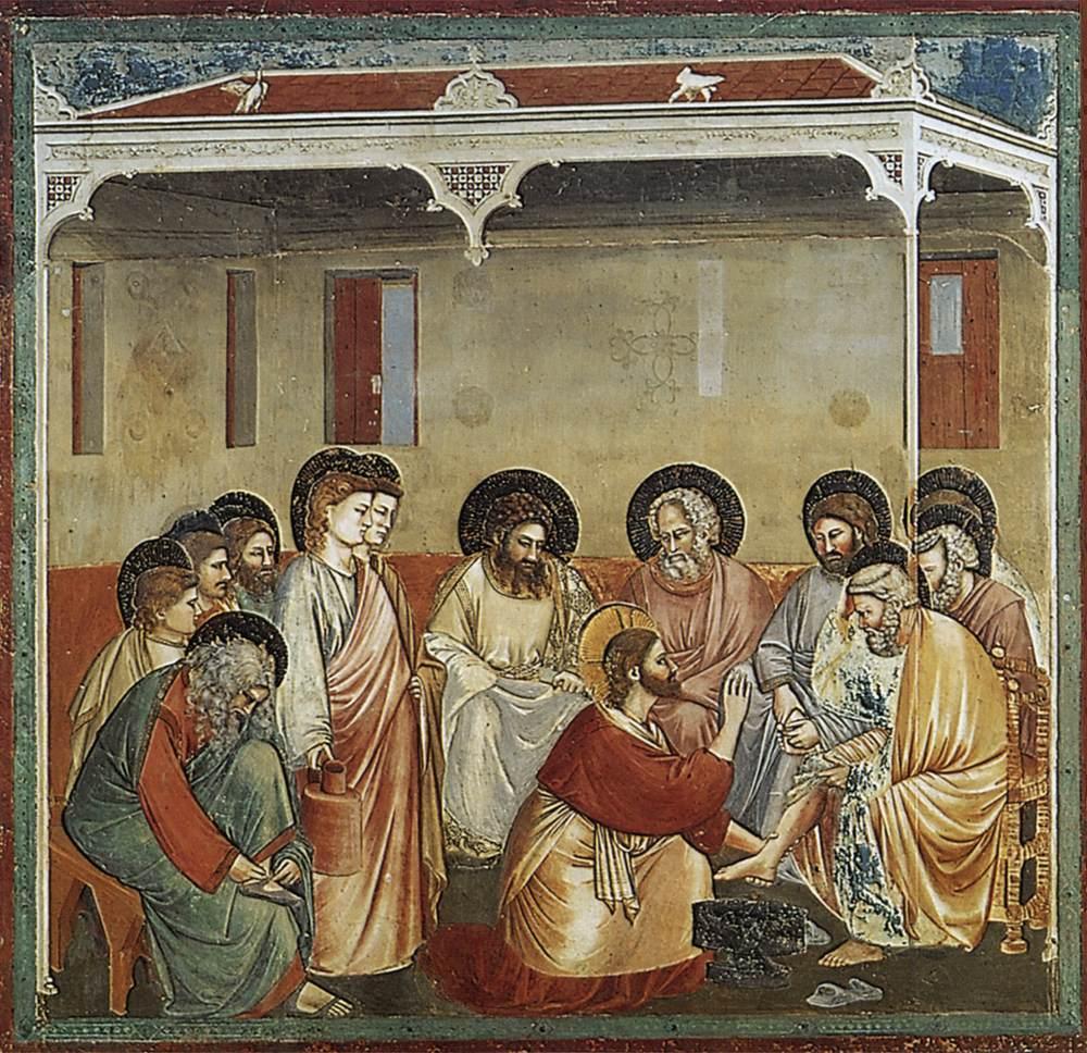 12 apostołów w malarstwie, Giotto di Bondone, Chrystus umywa nogi apostołom
