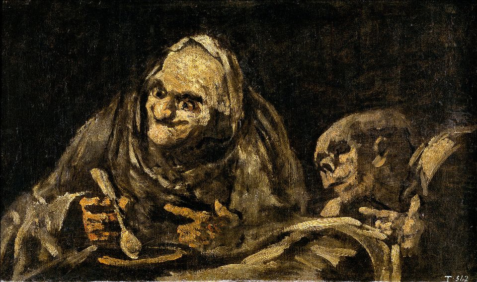 """Czarne obrazy Francisco Goi: """"Dwie staruchy jedzące zupę"""" – 53 x 85 cm"""