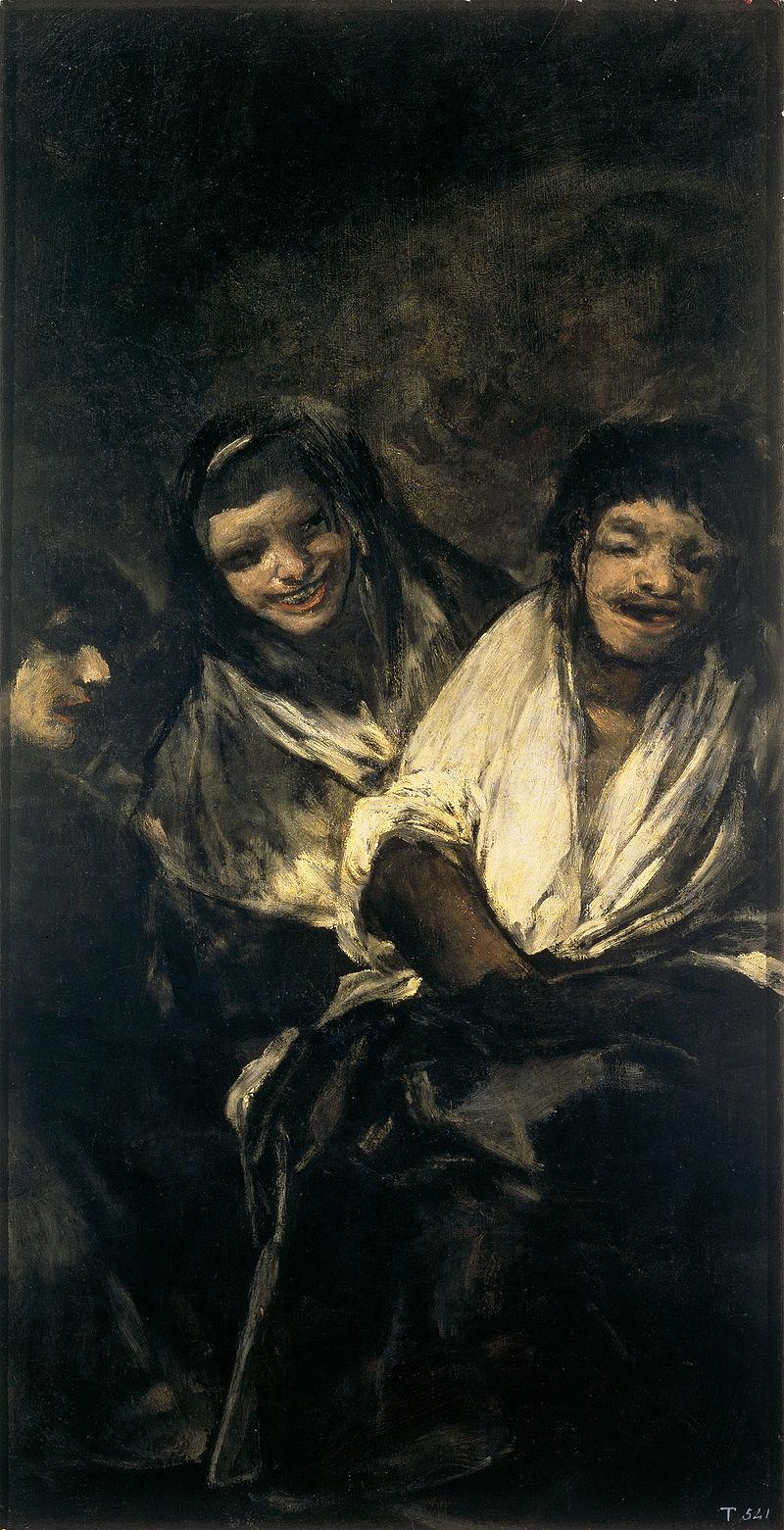 """Czarne obrazy Francisco Goi: """"Dwie kobiety i mężczyzna"""" – 123 × 66 cm"""