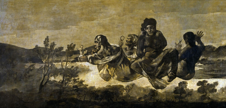 """Czarne obrazy Francisco Goi: """"Parki"""", 123 x 266 cm"""