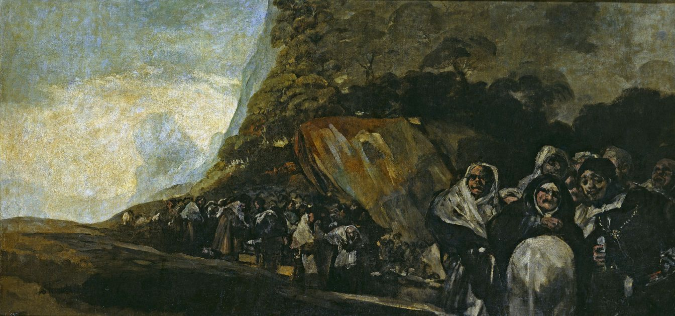 """Czarne obrazy Francisco Goi: """"Przechadzka Świętego Oficjum"""", 123 x 266 cm"""