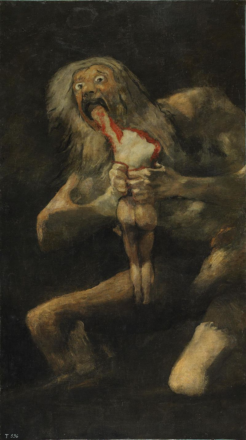 """Czarne obrazy Francisco Goi: """"Saturn pożerający własne dzieci"""" – 146 × 83 cm"""