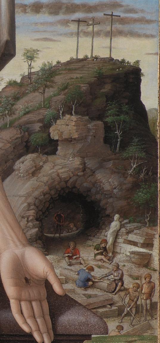 Andrea Mantegna, Jezus zdjęty z krzyża: fragment drugi – kainicka praca