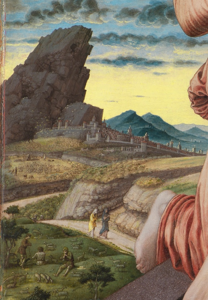 Andrea Mantegna, Jezus zdjęty z krzyża: fragment pierwszy – abelicka sielanka