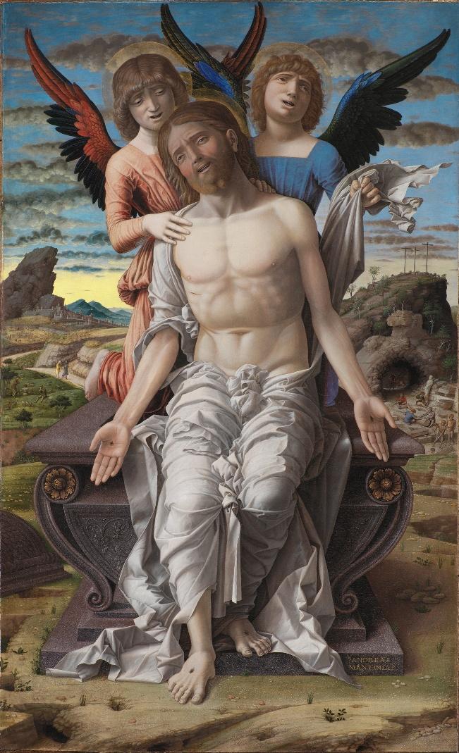 Jezus zdjęty z krzyża: Andrea Mantegna, Pieta – Chrystus podtrzymywany przez dwóch aniołów (Cristo in pietà soretto da due angeli), 1495-1500, tempera na desce, 48 x 78 cm, Statens Museum for Kunst, Kopenhaga