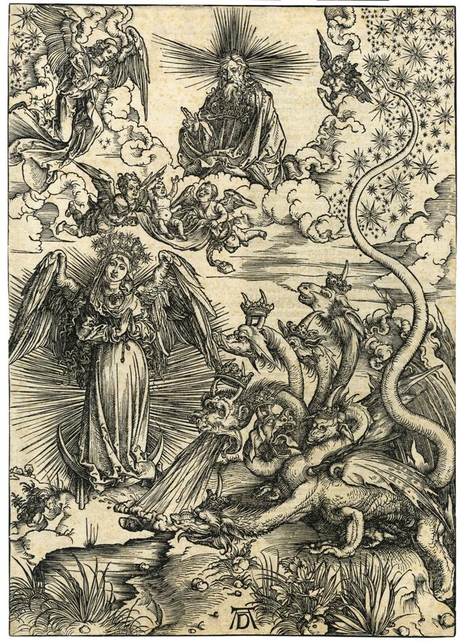 Apocalypsis cum figuris Dürera – Apokaliptyczna Niewiasta, 1498, drzeworyt, 39,2 x 28,1 cm