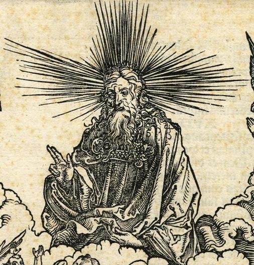 Apocalypsis cum figuris Dürera – Apokaliptyczna Niewiasta, fragment: Bóg