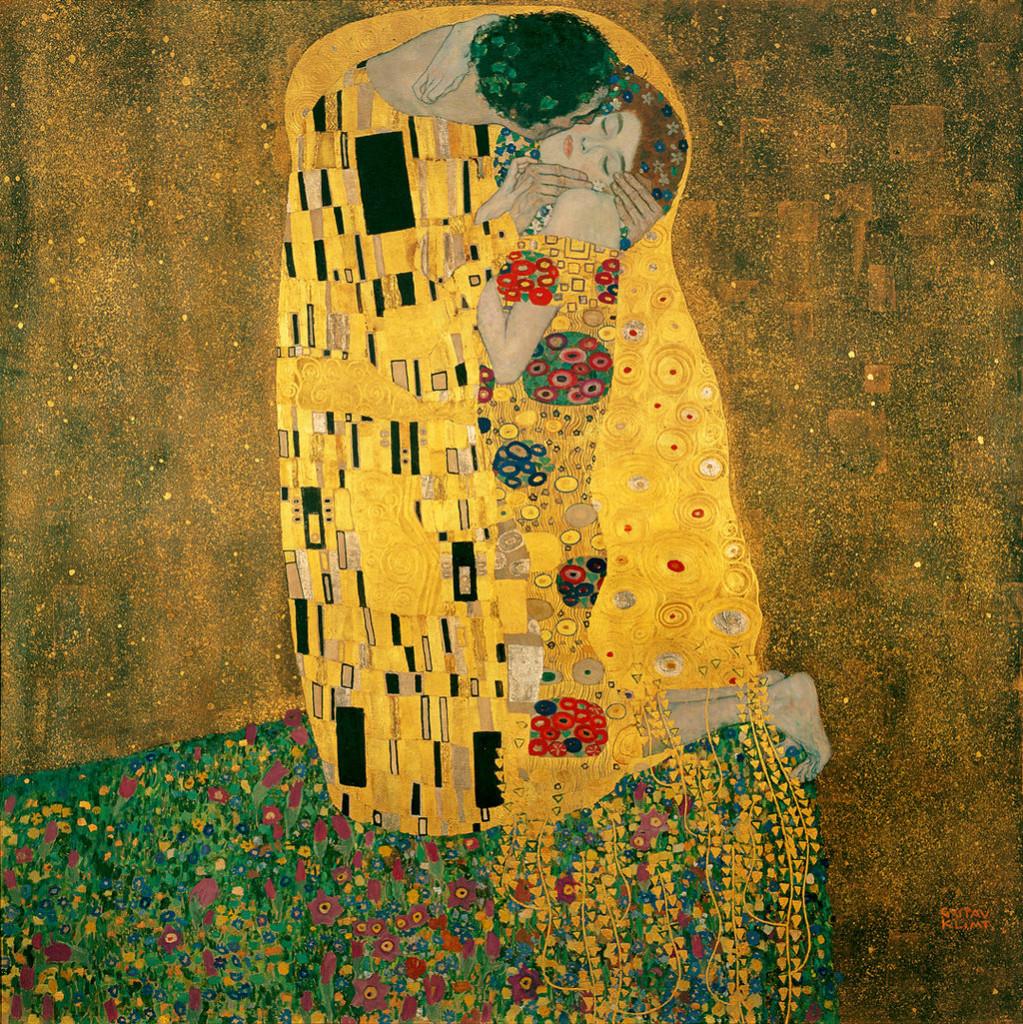 Obraz Pocałunek Gustava Klimta,1907-1908, olej na płótnie z wykorzystaniem płatków złota, 180 x 180 cm, Österreichische Galerie Belvedere w Wiedniu