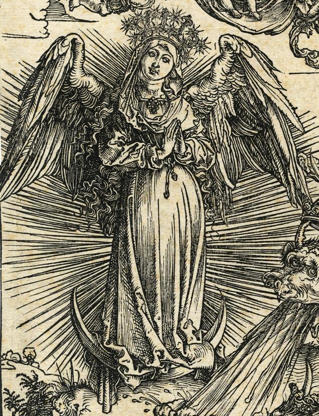 Apocalypsis cum figuris Dürera – Apokaliptyczna Niewiasta, fragment: Niewiasta
