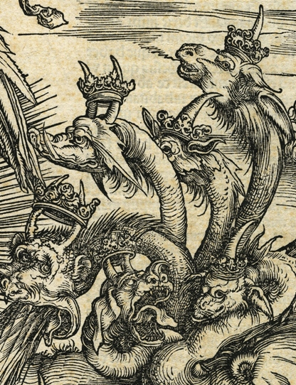 Apocalypsis cum figuris Dürera – Apokaliptyczna Niewiasta, fragment: trzy dwurożne głowy smoka