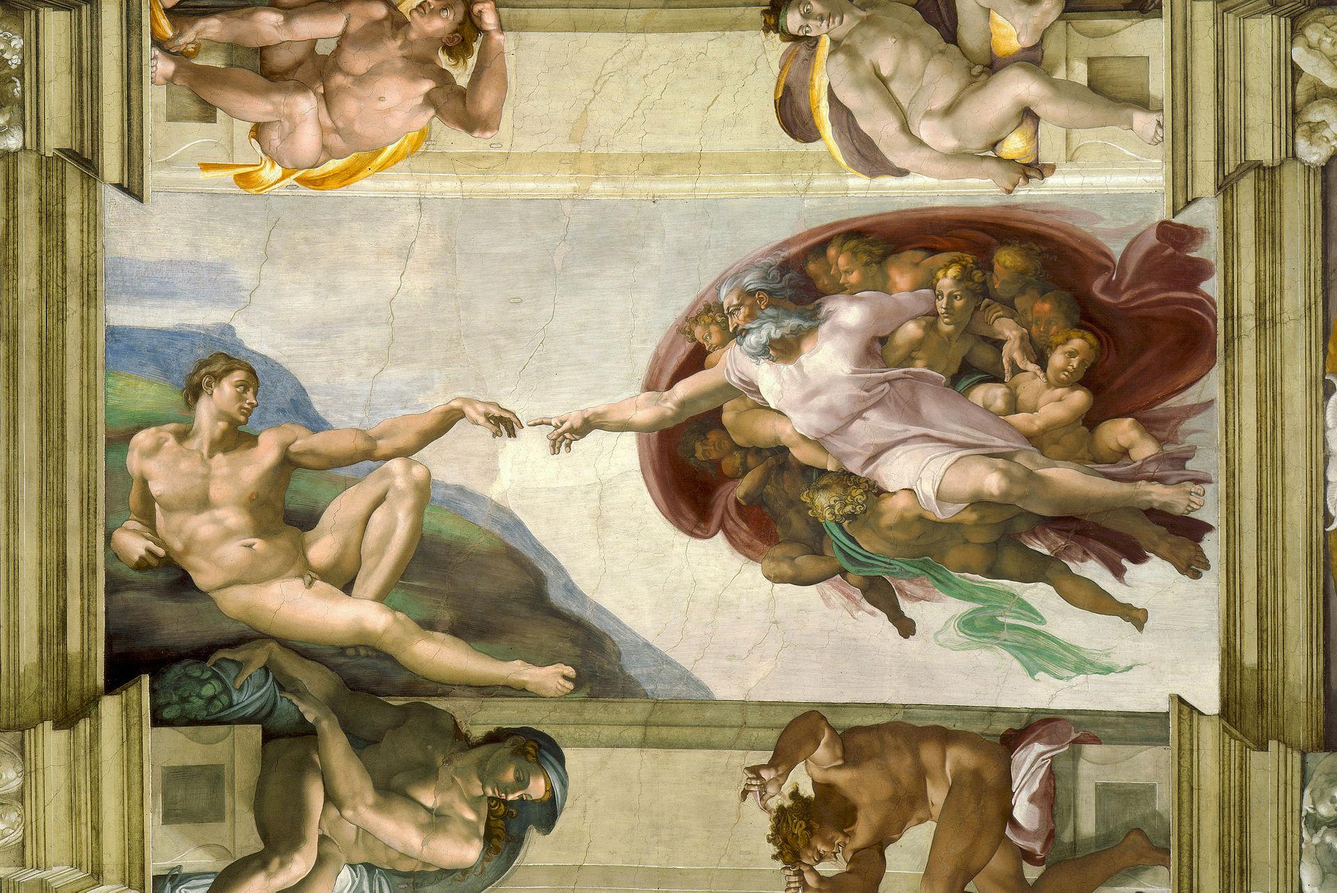 Stworzenie Adama Michała Anioła, ok. 1511, fresk, 570 m x 280 cm, Kaplica Sykstyńska