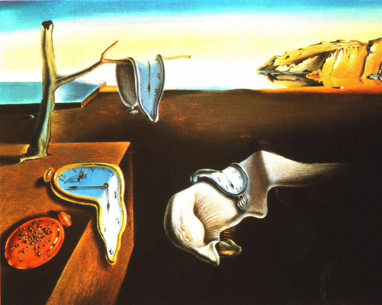 Miękkie zegary Dalego (właściwy tytuł: Trwałość pamięci), 1931, olej na płótnie, 24 x 33 cm, The Museum of Modern Art, Nowy Jork