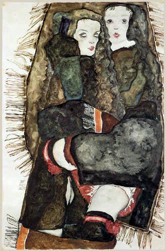 Miłość lesbijska na rysunkach Egona Schiele, Dwie dziewczyny na kapie z frędzlami, 1911, ołówek, akwarela, 36,5 x 56 cm