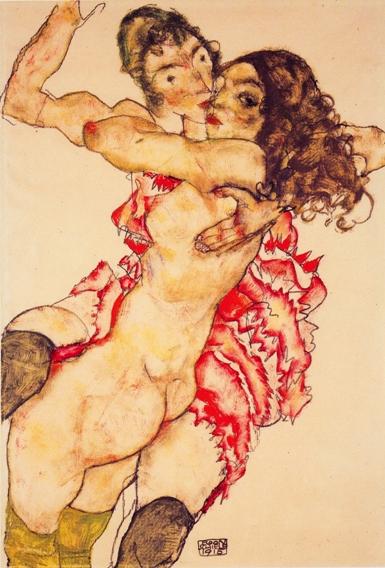 Miłość lesbijska na rysunkach Egona Schiele, Dwie obejmujące się dziewczęta (albo Przyjaciółki). 1915. Rysunek ołówkiem, akwarela i gwasz na papierze, 48 x 32,7 cm, Muzeum w Budapeszcie.