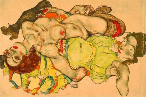 Miłość lesbijska na rysunkach Egona Schiele, Dwie kobiety leżące w uścisku, 1915, ołówek i gwasz na papierze, 32,8 x 49,7 cm, Muzeum Albertina w Wiedniu.