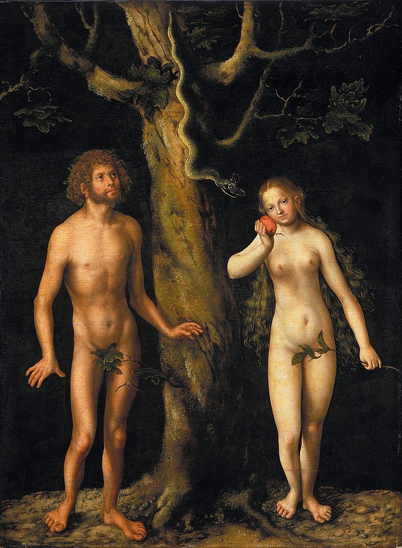 Adam i Ewa Cranacha Starszego, ok. 1510, olej i tempera na desce, 59 x44 cm, Muzeum Narodowe w Warszawie