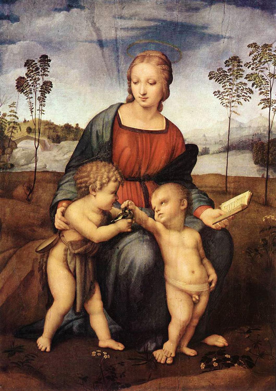 Madonna ze szczygłem, Rafael, ok. 1505-1506, olej na desce, 107 x 77,2 cm, przed renowacją