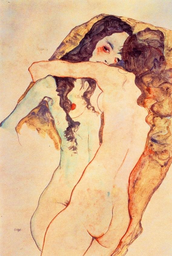 Miłość lesbijska na rysunkach Egona Schiele, Kochające się lesbijki