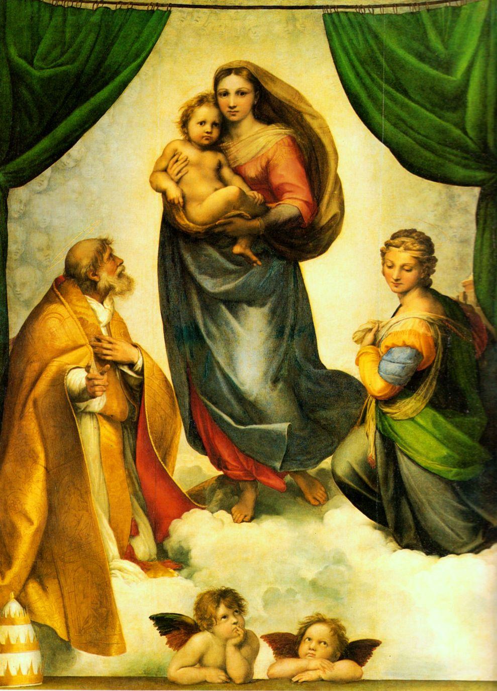 Madonna Sykstyńska Rafaela jako Sofia Mądrość Boża, 1513-1514, olej na płótnie, 265 x 196 cm, Galeria Obrazów Starych Mistrzów w Dreźnie