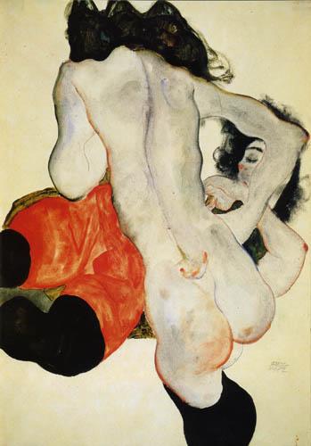 Miłość lesbijska na rysunkach Egona Schiele, Dwie kobiety, 1912, ołówek, akwarela, 32 x 45 cm