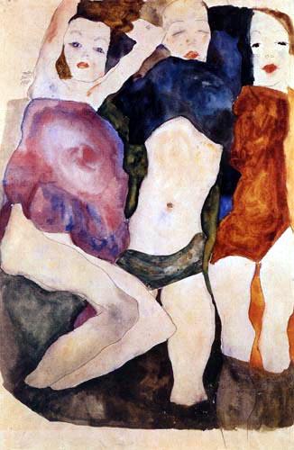 Miłość lesbijska na rysunkach Egona Schiele, Trzy dziewczyny, 1911, ołówek, akwarela, 31,5 x 48 cm