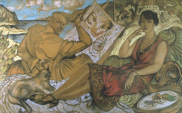 Obraz Fałsz kobiety Witkacego – autoportret z portretem Maryli Grossmanowej, 1927, pastel, papier na płótnie, 115,5 x 184 cm, Muzeum Narodowe w Warszawie