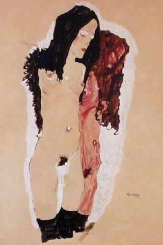 Miłość lesbijska na rysunkach Egona Schiele, Dwie leżące kobiety, 1912, gwasz, ołówek, 30,5 x 48,5 cm