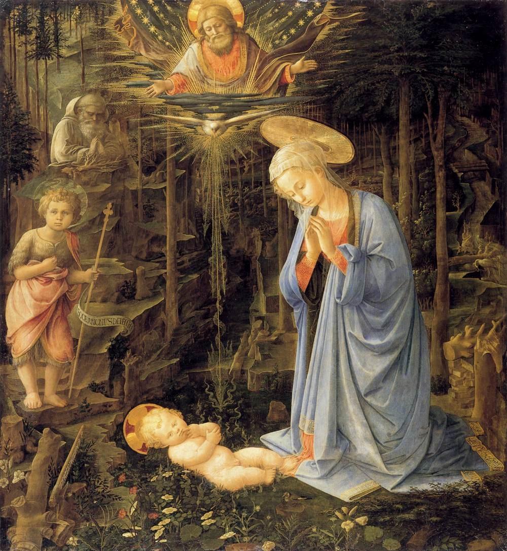 Prywatne życie arcydzieł BBC – Lippi, Adoracja ze św. Janem i św. Bernardem, ok. 1459, tempera na desce, 127 x 116 cm, Galeria Malarstwa w Berlinie.