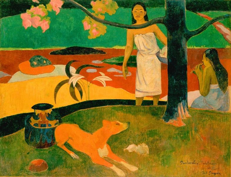 Tahitanki Gauguina, czyli wizja Rajskiego Ogrodu – Paul Gauguin, Tahitanki (Pastorales Tahitiennes), 1892, olej na płótnie, 87,5 x 113,7 cm, Ermitaż, Sankt Petersburg