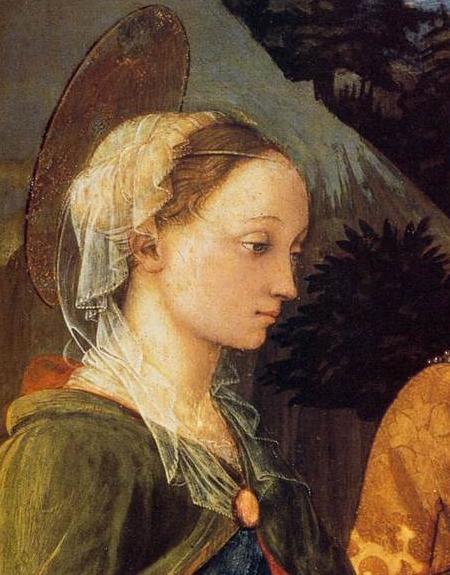 Fra Filippo Lippi, Madonna daje cudowny pasek świętemu Tomaszowi, fragment przedstawiający Lukrecję Buti jako świętą Małgorzatę