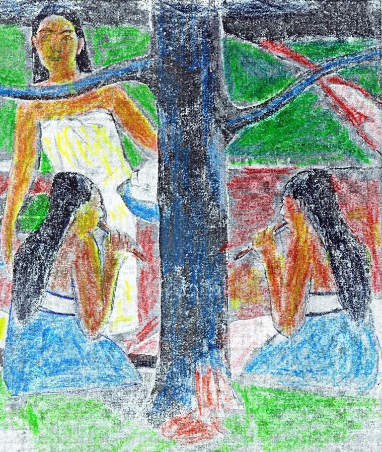 Tahitanki Gauguina, czyli wizja Rajskiego Ogrodu – fragment z zaznaczonym zwierciadlanym odbiciem dziewczyny z fujarką po drugiej stronie drzewa