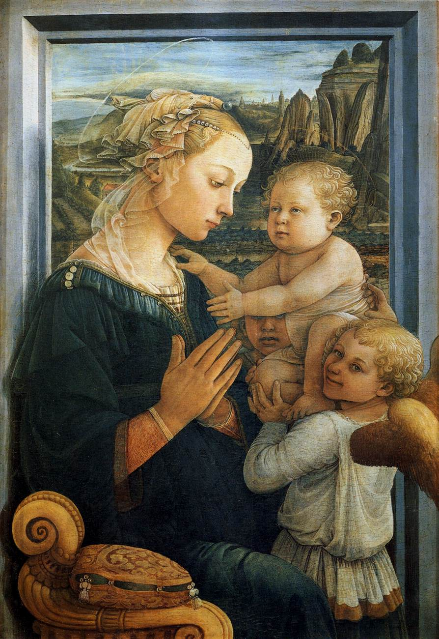 Fra Filippo Lippi, Madonna z Dzieciątkiem i dwoma aniołami (ok. 1465), 93 x 62,5 cm, Galeria Uffizi, Florencja